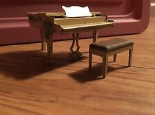 Vintage Tootsie Toy Metal Piano with Bench Dollhouse Miniature
