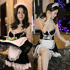 Sexy Lingerie Women Lace Costume Maid Cosplay Servant Fancy Dress Uniform