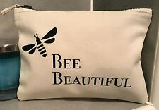Bee Beautiful Make Up Bag Pouch - Cream Black Bumble Bee - Birthday/Valentines