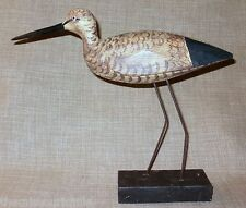 NEW~Large Hand-Carved Wood Shore Bird on Metal Legs Figurine Nautical Beach Sea