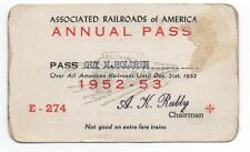 1952-53 Annual Pass from the Associated Railroads of America