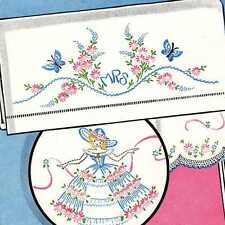 Vintage Embroidery 179 Crinoline Lady butterflies flowers basket for Pillow Case