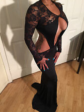 Sexy Bodycon Lace Evening gown maxi  w/ Cut outs & Ultra Low back L