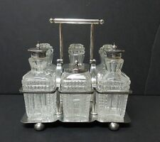 ANTIQUE ENGLISH SILVER PLATE & CUT CRYSTAL 6-BOTTLE CRUET SET, c. 1865-1893