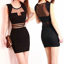 Fashion Sexy Black Club Wear Cocktail Party Sleeveless Mini Dress Slim Clothes