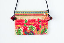 Orange 2 Bird Hill Tribe Cross-Over Bag Hmong Embroidered Thai Purse Bohemian