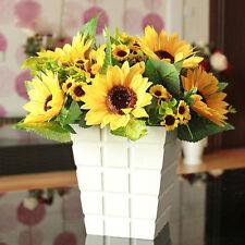 Beautiful New 7 Head Fake Sunflower Artificial Silk Flower Bouquet Floral Decor