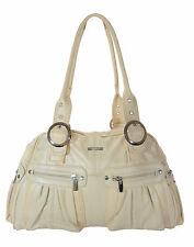 Lorenz [3786] Womens Large Beige Genuine Leather Handbag Tote Shoulder Bag
