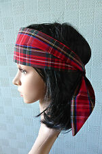 red tartan bandana,  red plaid hair scarf, tartan headband rockabilly style