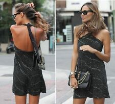 ZARA NEW BLACK SHORT HALTER NECK SHINNY DRESS SIZE M ref:2731/241
