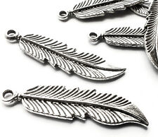 6 x Quality 45mm long Silver Plated Bird Feather Charms Pendants Embellishment