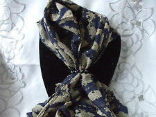 Scarf + Scarf Ring Gift Set Navy Paisley Large Design + Black & Silver Ring