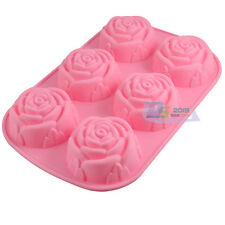 6 Cavities Rose Cake Jelly Pudding Muffin Chocolate Silicone DIY Baking Mould