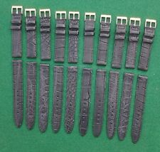 Lot (10) 16mm 5/8'' Matte BLACK GENUINE CROCODILE Wrist Watch bands USA strap