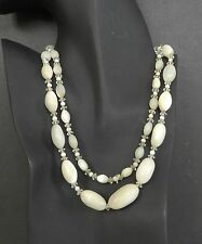 """Long 36"""" Vintage Mother of Pearl Glass Bead Opera Necklace MOP Art Deco Antique"""