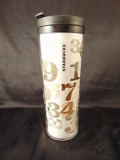 Starbucks 16 oz. travel mug numbers insulated hot cold drinks coffee cup tea art
