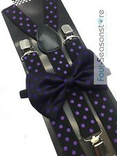 Black w/ Purple Dot Bow Tie And Suspender Matching Set Tuxedo Wedding Party
