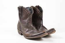 Golden Goose Deluxe Brand Brown Leather Distressed Pointed Western Boots SZ 40