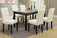 Modern Two-Toned Finished Table Top 7 Pc Dining Table Set Chair Chairs Furniture
