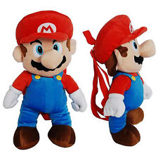 "Backpack 16"" SUPER MARIO BROS Nintendo Travel Buddies Pillow Plush Bag NEW"