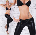 Sexy Leather Look Black Skinny Jeans Slim Trousers with Zips UK Size 8-14