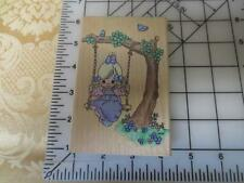 Precious Moments Warmest Thoughts girl on tree swing wm rubber stamp Stampendous