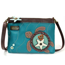 Women's Mini X-BODY Zip-around Phone Purse, Clutch + 2 Straps (Turquoise Turtle)