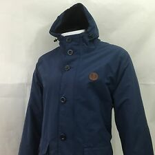 FRED Perry Mens Medium Cappotto Parka 40 Navy Blue impermeabile con cappuccio £ 175