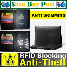 RFID Anti Scan Black Synthetic Leather Travel Passport Card Wallet Holder Cover