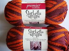 Premier Starbella Stripes ruffle mesh yarn, Play Ball, lot of 2 (33 yds each)