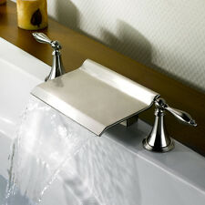 New 2016 Modern Nickel Brush Waterfall Roman Tub Filler Bathroom Bathtub Faucets