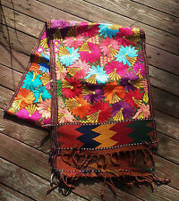 Maya Mexican Woven and Hand Embroidered Table Runner Flowers Chiapas 8' Brown