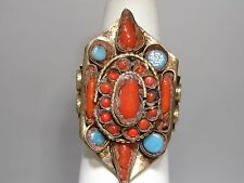 VINTAGE 1960'S TURQUOISE & CORAL INLAY BRASS RING! ARTISAN CRAFTED