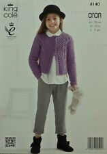 KNITTING PATTERN Childrens Long Sleeve Cable&Blackberry Cardigan Aran KC 4140
