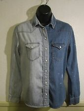Women's BDG Two Tone Blue Long Sleeve Denim Shirt Size XS/TP
