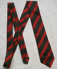 NEW BROWN RED STRIPED TIE MENS NECKTIE OLD SCHOOL COLLEGE STRIPES VINTAGE