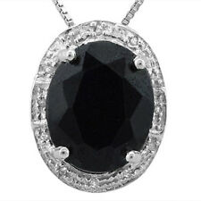 GENUINE DIAMOND & BLACK SAPPHIRE PLATINUM OVER 925 STERLING SILVER PENDANT