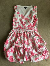 Topshop Bubble Dress Grey Pink UK 12 Zip Detail Very Good Condition Cute !