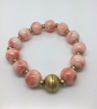 GENUINE ORANGE CORAL BEAD CUSTOM MADE BRACELET WITH 18K Y/G CLASP