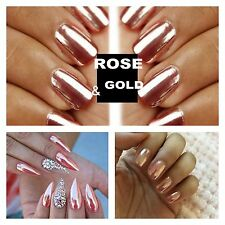MIRROR POWDER CHROME EFFECT Pigment NAILS New Rose Gold Silver Nail Art xmas