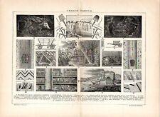 Stampa antica MINIERA di CARBONE FOSSILE minatori e attrezzature 1910 Old print