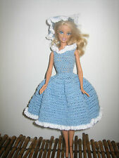 Vintage Barbie Hand Crocheted Blue & White Dress & Matching Hat