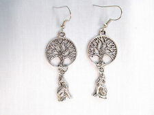 NEW 2 SIDED TREE OF LIFE & WOLF COYOTE DOUBLE DROP CHARM 14g BELLY RING BARBELL