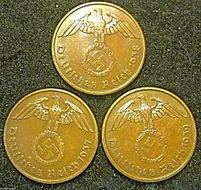Germany - German 3rd Reich 1937A, 1938A & 1939A 2 Reichspfennig Coin Collection