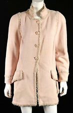 CHANEL $5,910 13C Versailles Pink Tweed Ribbon Trim Logo Button Coat 46