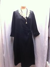 Vintage 1920's Black Silky Rayon Wrap Delineator Dress Size Medium EXCELLENT