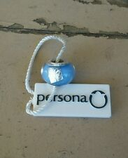 L@@K Persona European Sterling Silver Baby Blue w/ Silver Foil Charm Bead $30