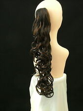 "Clip-On PONY TAIL HAIR EXTENSION Curly 25"" Dark Brown/Medium Auburn   #2/30"