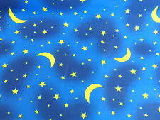 Moons & Stars Sky Polycotton Fabric Material BY HALF METRE W 110cm