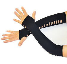 Fingerless Arm Warmers Fishnet Gloves Cuffs Spandex Black with Polka dot  HOLE